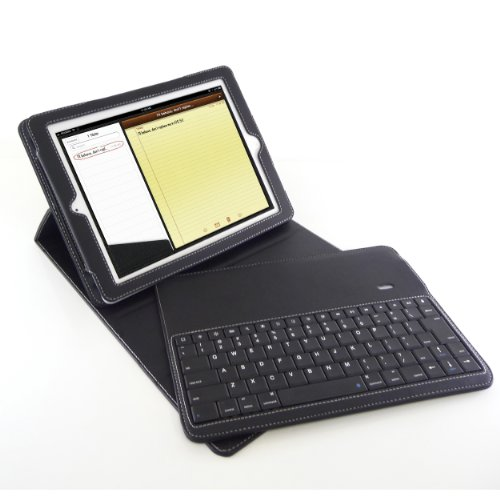 D-LUX Black Leather Folio Case With Removable Wireless Bluetooth Keyboard - Laptop Style Keys For IPad 2