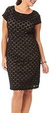 Tiana B Plus Lace Scallop Trim Shift Dress