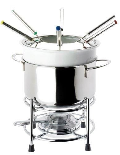 Beka 14300594 Service à fondue Roma 11 pièces composé de : 1 caquelon céramique blanc  1 support inox  1 couvercle  1 réchaud  6 fourchettes