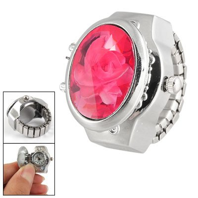 Flower Inlaid Pink Faceted Plastic Crystal Finger Ring Watch For Ladies