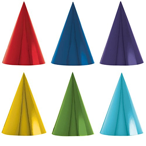 Amscan-Rainbow-Foil-Cone-Any-Occasion-Party-Hats-RedYellowGreenBlueViolet-7