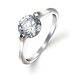 Bling Jewelry Sterling Silver 2 Prong Round CZ Solitaire Engagement Ring 1.25ct