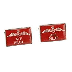Official, Royal Air Force, Slogan Series, 'Ace Pilot' Cuff Links in red (RAF119).
