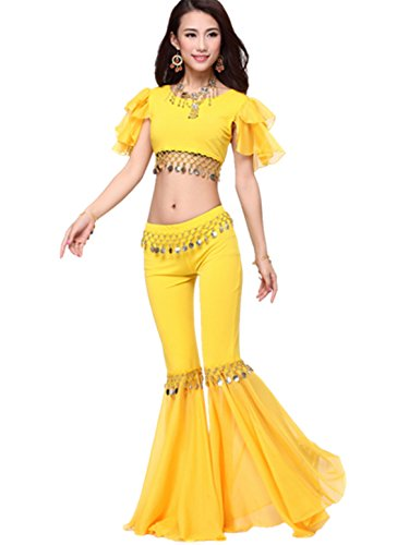 dancewear-danza-del-ventre-custome-tribal-monete-manica-cortas-top-fish-tail-pantaloni-yellow