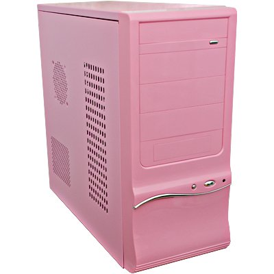 3310 Shiny Piano Pink Mid Tower Case 500 Watt