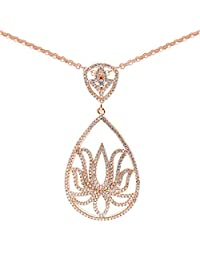 Pink Gold Plated Pure 925 Sterling Silver Lotus Design Pendant