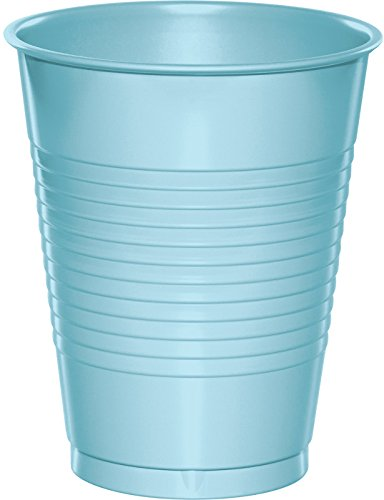 Creative Converting 28157081 20 Count Touch of Color Plastic Cups, 16 oz, Pastel Blue - 1