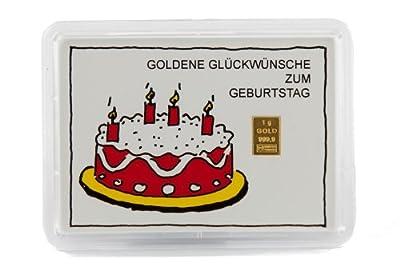 """Glückwunschkarte Motivbox """"Geburtstagskuchen"""" mit eingebettetem 1g Goldbarren"""