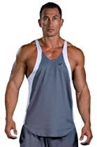 "Mens Fitness TWO-TONE ""DRY-FIT"" Poly Stringer Tank Top By Pitbull Gym (Charcoal/White-XL)"