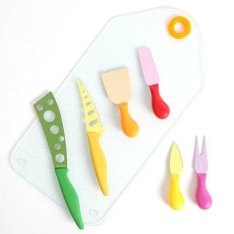 Colorsplash 91147.07 Primary Basics 7-Piece Nonstick Cheese Knife Set