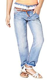 Cotton Rich Adjustable Waist Broderie Jeans with Belt [T77-5909S-Z]