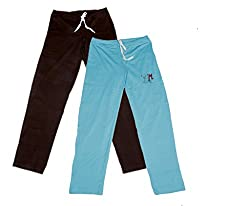 IndiWeaves Women Super Combo Pack 4 (Pack of 2 Lower/Track Pant and 2 T-Shirt)_Brown::Brown::Turquoise::Red::Black _XL