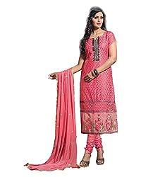 Maruti Suit Women's Cotton Regular Fit Suit (Y4005, Pink, Free Size)