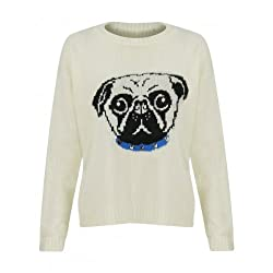 The Home of Fashion Womens Cream Pug Dog Face Stud Collar Long Sleeve Knitted Jumper