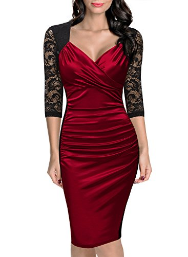 Miusol Women's Deep-V Neck Ruffles Floral Lace Fitted Retro Evening Pencil Dress (X-Large, Wine)