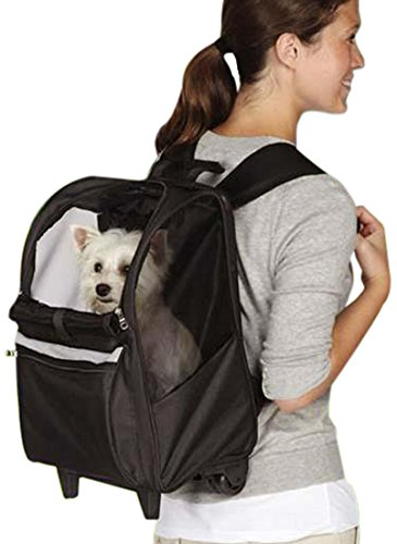 East Side Collection On-the-Go Rolling Backpacks  -  Convenient and Versatile Carriers for Small Dogs and Cats, Black