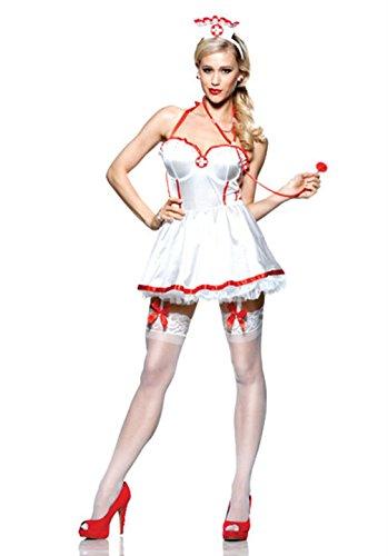 [Mememall Fashion Naughty Nurse Feel Good Adult Costume] (40s Nurse Costume)