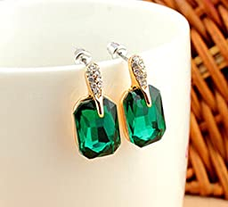 Liroyal Fashion Elements Natural Graceful Green Square CrystaL Stud Earrings