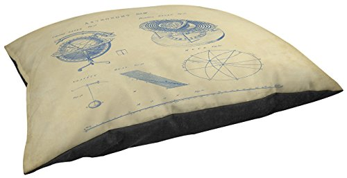 Thumbprintz Indoor/Outdoor Small Breed Pet Bed, Vintage Astronomy Globe, Off-White front-1031927