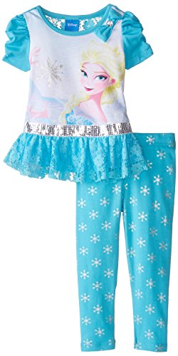 887847679145 - Disney Little Girls' 2 Piece Elsa Legging Set with Pant, Blue, 4 carousel main 0