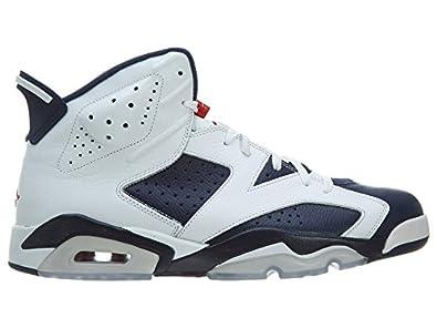 Mens Nike Air Jordan 6 Retro Olympic Edition Basketball Shoes White / Midnight Navy / Varsity Red 384664-130 Size 8.5