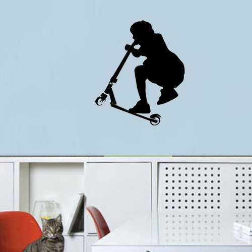 Olivia Diy Personalized Kids Stunt Scooter Trick Sports Cartoon Black Removable Wall Decals Art For Children Teenage Boys Girls Bedrooms Wall Stickers Decor