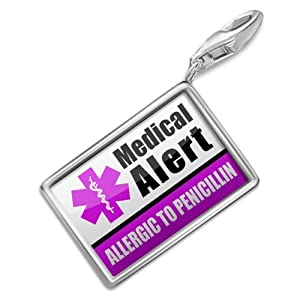 "NEONBLOND Charms Medical Alert Purple ""Only gluten Free Allergy Safe"" - Bracelet Clip On from NEONBLOND Jewelry & Accessories"