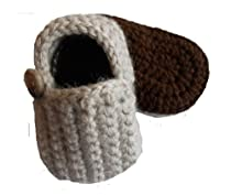 Sweet Lullabiez Handmade Lazy Day Loafers in Linen & Brown Size 1 (0-3 Months) / Baby Shoes Booties