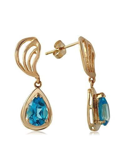 Fashion Strada 14K Yellow Gold & Blue Topaz Drop Earrings