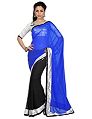 Designersareez Women Royal Blue & Black Faux Georgette Saree With Unstitched Blouse (1653)