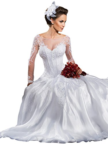bfc93e9f535b0 VERNASSA Ball Gown See Through Bridal Dresses Lace Long Sleeves Wedding  Dresses