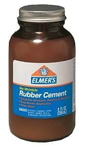 Elmer's No-Wrinkle Rubber Cement, 8 Ounces, Clear (231)