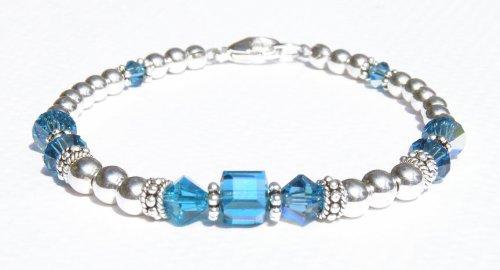 Blue Zircon Sterling Silver Swarovski Crystal Bracelets