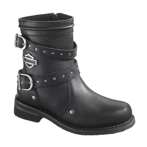 dd8b2cc850a875 Harley-Davidson  Wolverine  Women s Chryse Black Leather 6.5-Inch  Motorcycle Boots. D87011