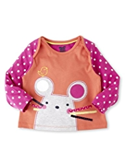 Pure Cotton Graphic Cat Appliqué T-Shirt