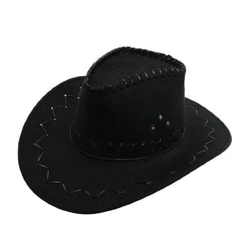 Herren Schwarz Flanell Strap Winding Wellenmuster Faux-Veloursleder Cowboy HatOne Größe