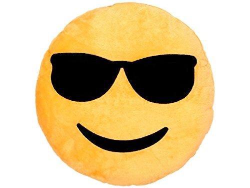 Cuscino decorativo morbido Smiley Emoji occhiali da sole (KI-04) emoticone faccine culto confortevole decorazione peluche idea regalo