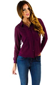 Sheer Button Down Open Back Blouse in Purple
