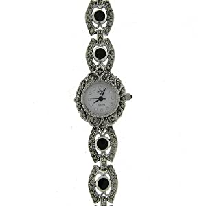 sterling silver marcasite genuine black onyx shell watch