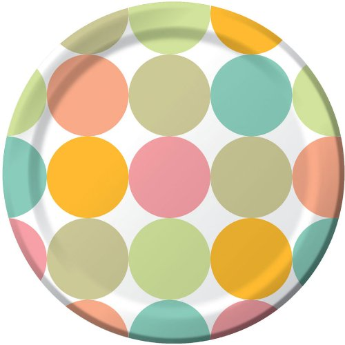 Creative Converting Fun Dots Round Dinner Plates, 8 Count