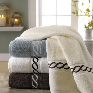 Turkishtowels Ricami Cable Embroidery Towel 18 Piece Towel Set (6 Bath, 6 Hand, 6 Wash), White