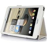 IVSO Slim-Book Hülle Tasche Case Schutzhülle Cover für Acer Iconia Tab 8 A1-840FHD 20,3 cm (8 Zoll) Tablet-PC - mit Standfunction, Handschlaufe und Business-Kartenslot (Für Acer Iconia A1-840 FHD, BOOK Style-Weiß)