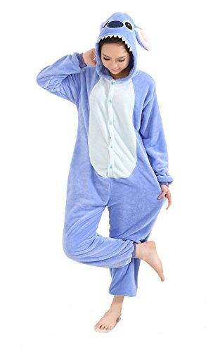 Adornplant Animal Cosplay Costume Adult Onesies Unisex Pajamas Blue Stitch (XL) (Hamster Costume For Adults)