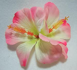 Double Light Pink Hibiscus Flower Hair Clip