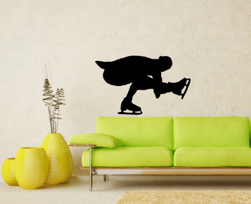 Vinyl Decals Figure Skating Ice Speed Sportsman Winter Extreme Sport Wall Art Sticker Home Modern Stylish Interior Decor for Any Room Smooth and Flat Surfaces Housewares Murals Design Window Graphic Bedroom Living Room (5066)