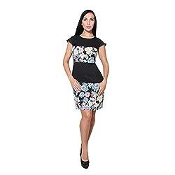 CJ15 Plain & printed short black dress for women