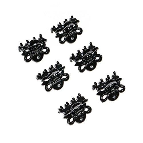 Claire's - Femmes - Lot De 6 Mini Pinces À Cheveux Noires Avec Strass - Noir