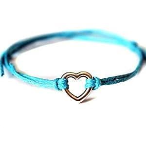 Hippy Silver HEART Friendship Karma Wish Hope Love Peace Bracelet Cord Boho [TURQUOISE BLUE]