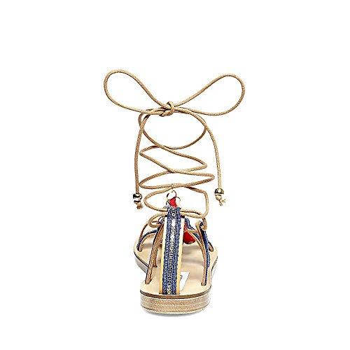 Steve Madden Women's Cailin Gladiator Sandal, Natural/Multi, 7 M US