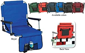 Portable Stadium Seat With Arm Rests & Pockets - Navy Blue by CC Home Furnishings